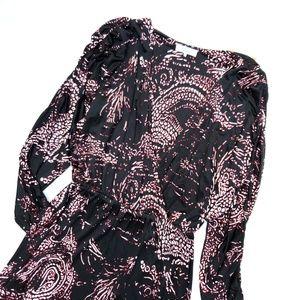 Parker Black Half Wrap Ruched Sleeve Dolman Dress